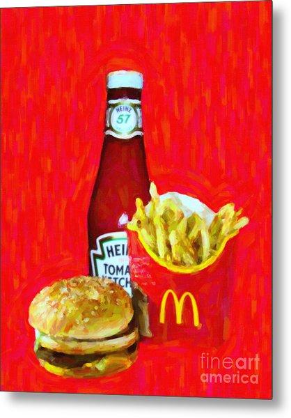 Burger Fries And Ketchup Metal Print by Wingsdomain Art and Photography
