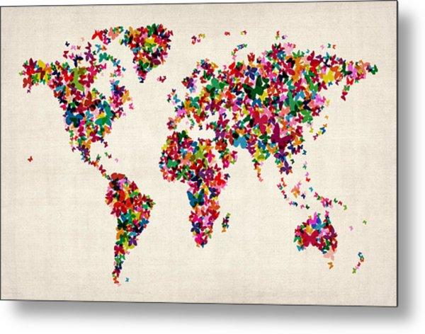 Butterflies Map Of The World Metal Print