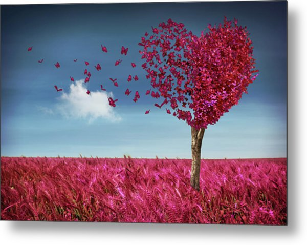 Butterfly Heart Tree Metal Print