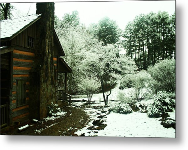 Cabin In The Snow Metal Print by Adam LeCroy
