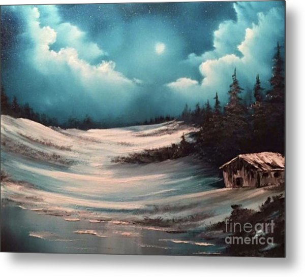 Cabin In The Woods  Metal Print by Paintings by Justin Wozniak