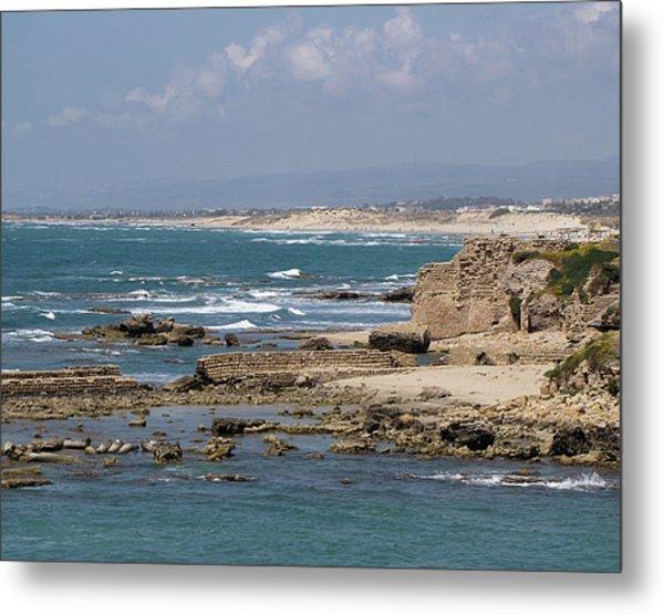 Caesarea Seascape Israel Metal Print