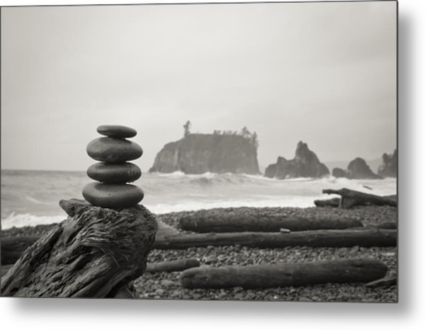 Cairn On A Beach Metal Print
