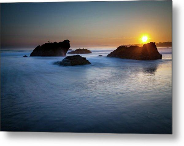 California Ocean Sunset Metal Print