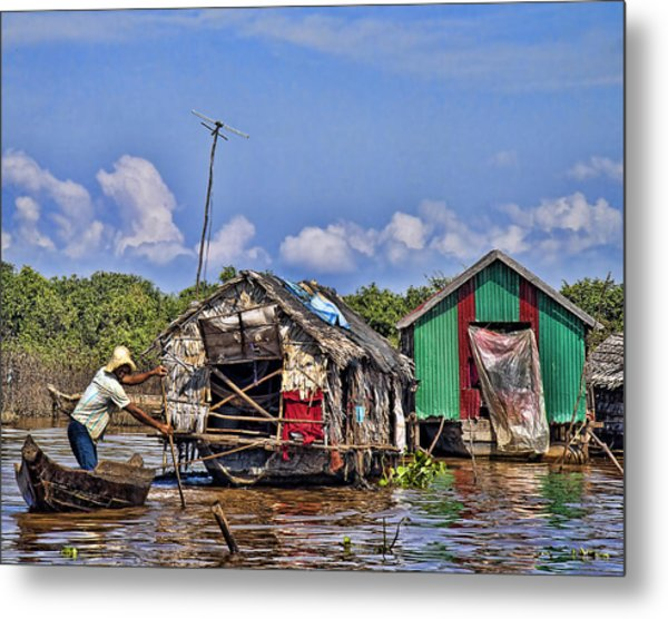 Cambodian Fishing Scene Metal Print