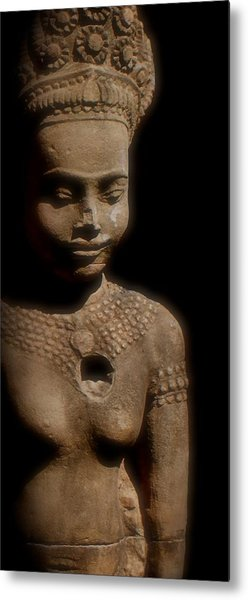 Cambodian Statue  Iv Metal Print by Louise Fahy