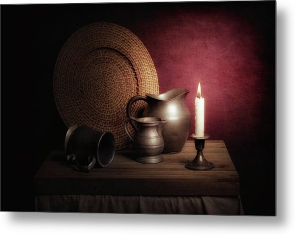 Candle Light Still Life Metal Print
