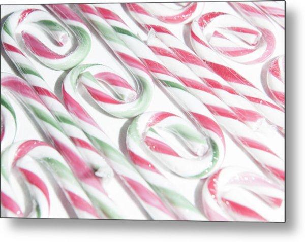 Candy Cane Swirls Metal Print