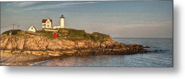 Cape Neddick Lighthouse Island In Evening Light - Panorama Metal Print