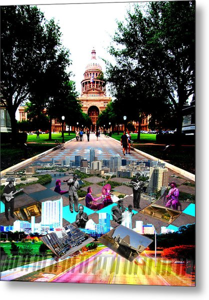 Capital Collage Austin Music Metal Print