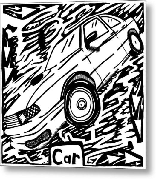Car Maze  Metal Print by Yonatan Frimer Maze Artist