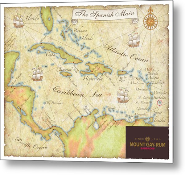 Caribbean Map II Metal Print
