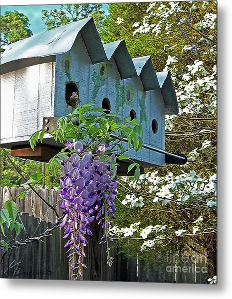 Carolina Wisteria Bird Hotel Metal Print