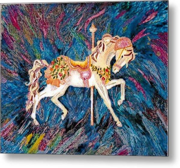 Carousel Horse With Dark Background Metal Print by Brenda Adams