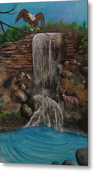 Casscading Waterfall Metal Print