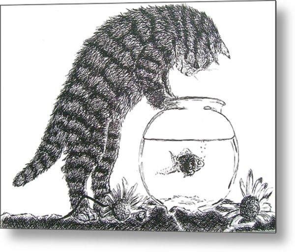 Cat And Fishbowl Metal Print