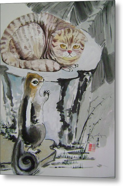 Cat And Squirrel Metal Print by Lian Zhen