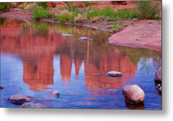 Cathedral Rock Reflection Pastel Metal Print by Bob Coates