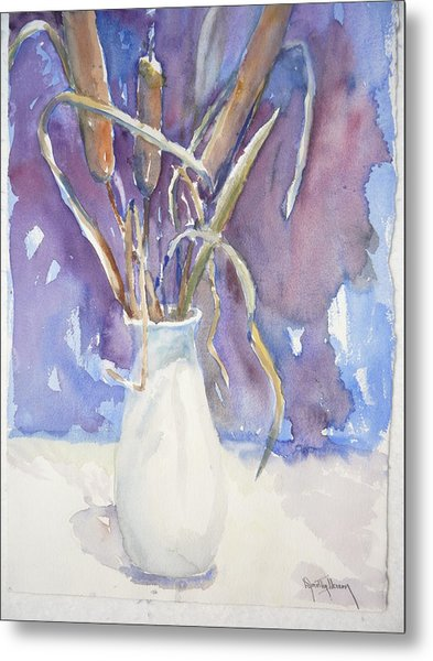 Cattails On White Metal Print by Dorothy Herron