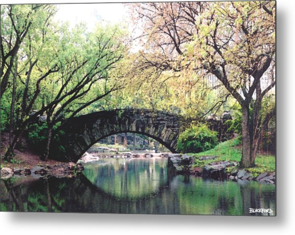 Central Park Bridge Metal Print by Al Blackford