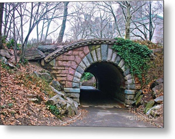 Central Park, Nyc Bridge Landscape Metal Print