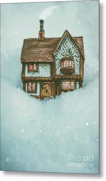 Ceramic Cottage In Snow Metal Print