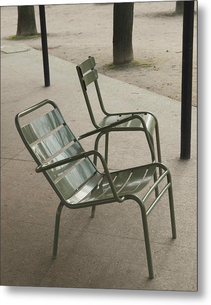 Chairs At Jardin Du Luxembourg Metal Print by Paolo Pizzimenti