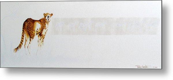 Cheetah And Zebras Metal Print