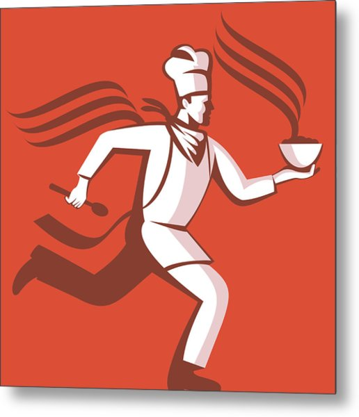 Chef Cook Baker Running With Soup Bowl Metal Print by Aloysius Patrimonio