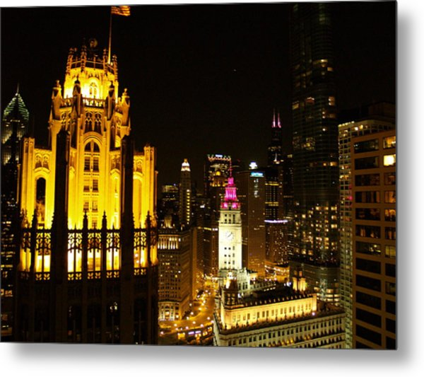 Chicago At Night  Metal Print by Jacob Stempky