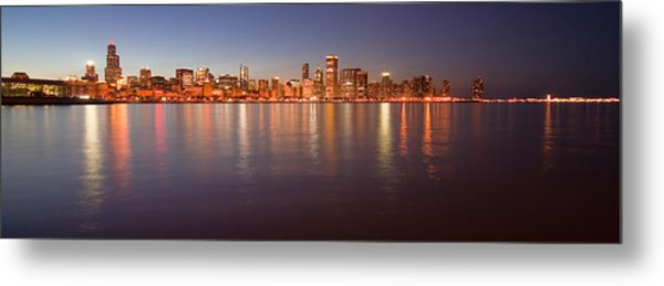 Metal Print featuring the photograph Chicago Dusk Skyline Panoramic  by Sven Brogren