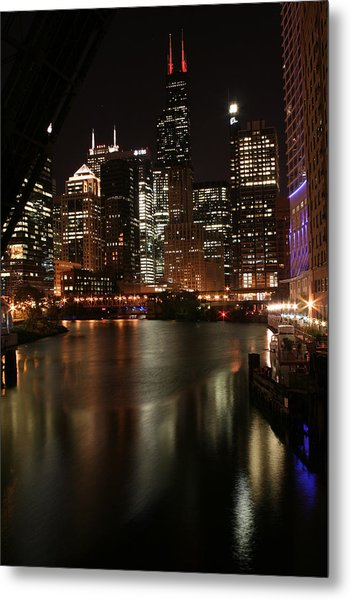 Chicago River At Night Metal Print by Christopher Purcell