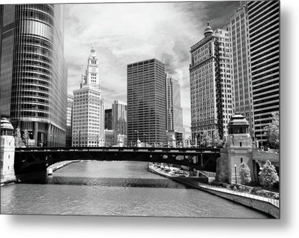 Chicago River Buildings Skyline Metal Print