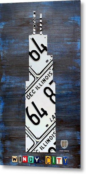 Chicago Windy City Harris Sears Tower License Plate Art Metal Print