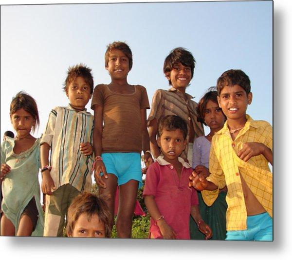 Childrens In Their Free Time At Village Enjoying Metal Print by Sandeep Khanwalkar