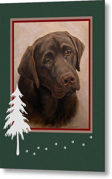 Chocolate Labrador Portrait Christmas Metal Print