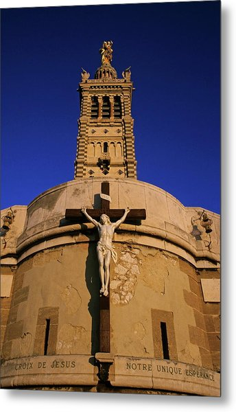 Christ On The Cross Outside The Nortre Dame De La Garde Metal Print by Sami Sarkis