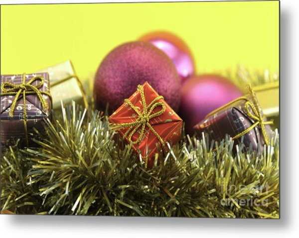 Christmas Decoration With Gift And Garlands Metal Print