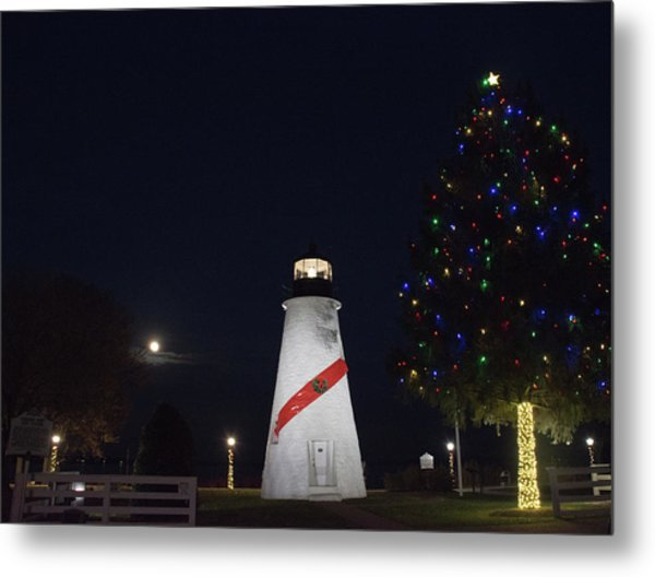 Christmas Lighthouse Metal Print