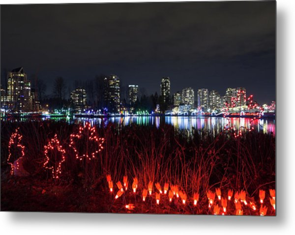 Christmas Lights At Lafarge Lake In City Of Coquitlam Metal Print