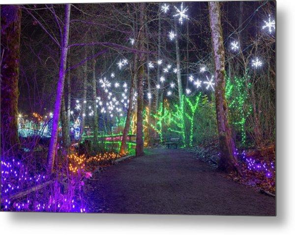 Christmas Lights Decoration Along Lafarge Lake Path Metal Print