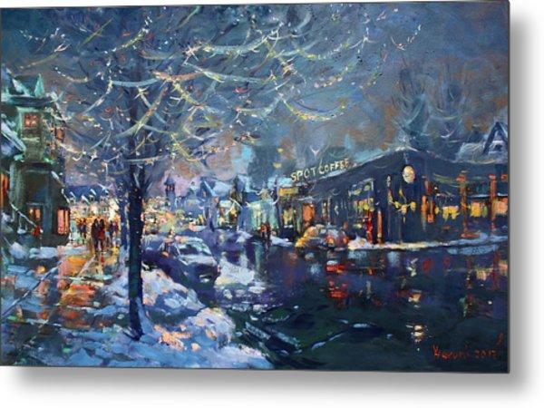 Christmas Lights In Elmwood Ave  Metal Print