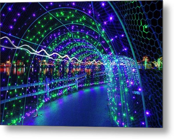 Christmas Lights In Tunnel At Lafarge Lake Metal Print