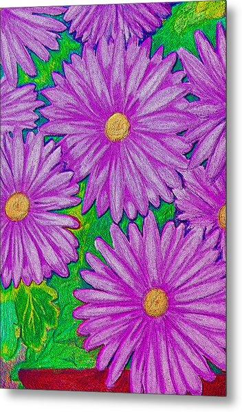 Chrysanthemums Pink Metal Print by Adrienne Talbot