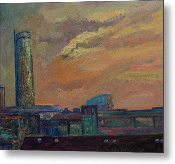 Cityscape With Tower Metal Print by Maris Salmins