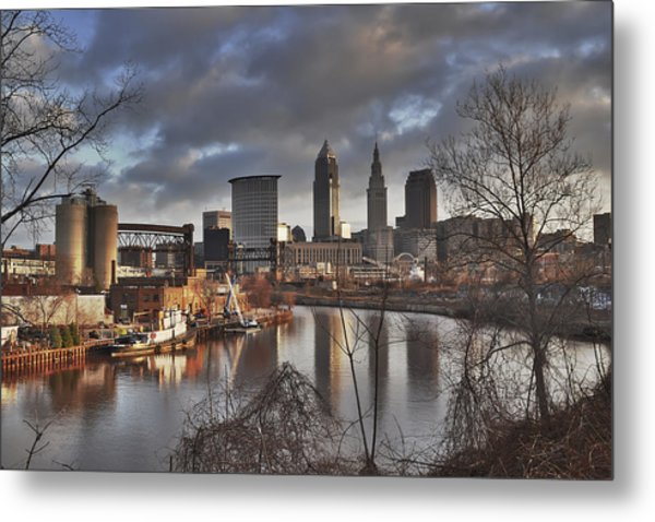 Cleveland Skyline From The River - Morning Light Metal Print