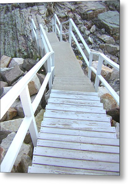 Cliff House Stairs Metal Print by Heather Weikel