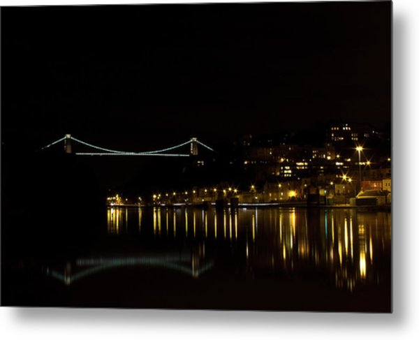 Clifton Suspension Bridge At Night Metal Print
