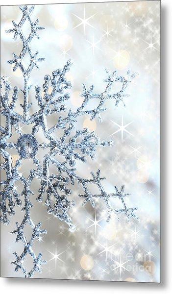 Closeup Of Snowflake Metal Print
