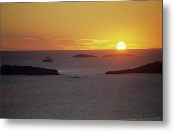 Club Med Sailing Into Sunset Metal Print